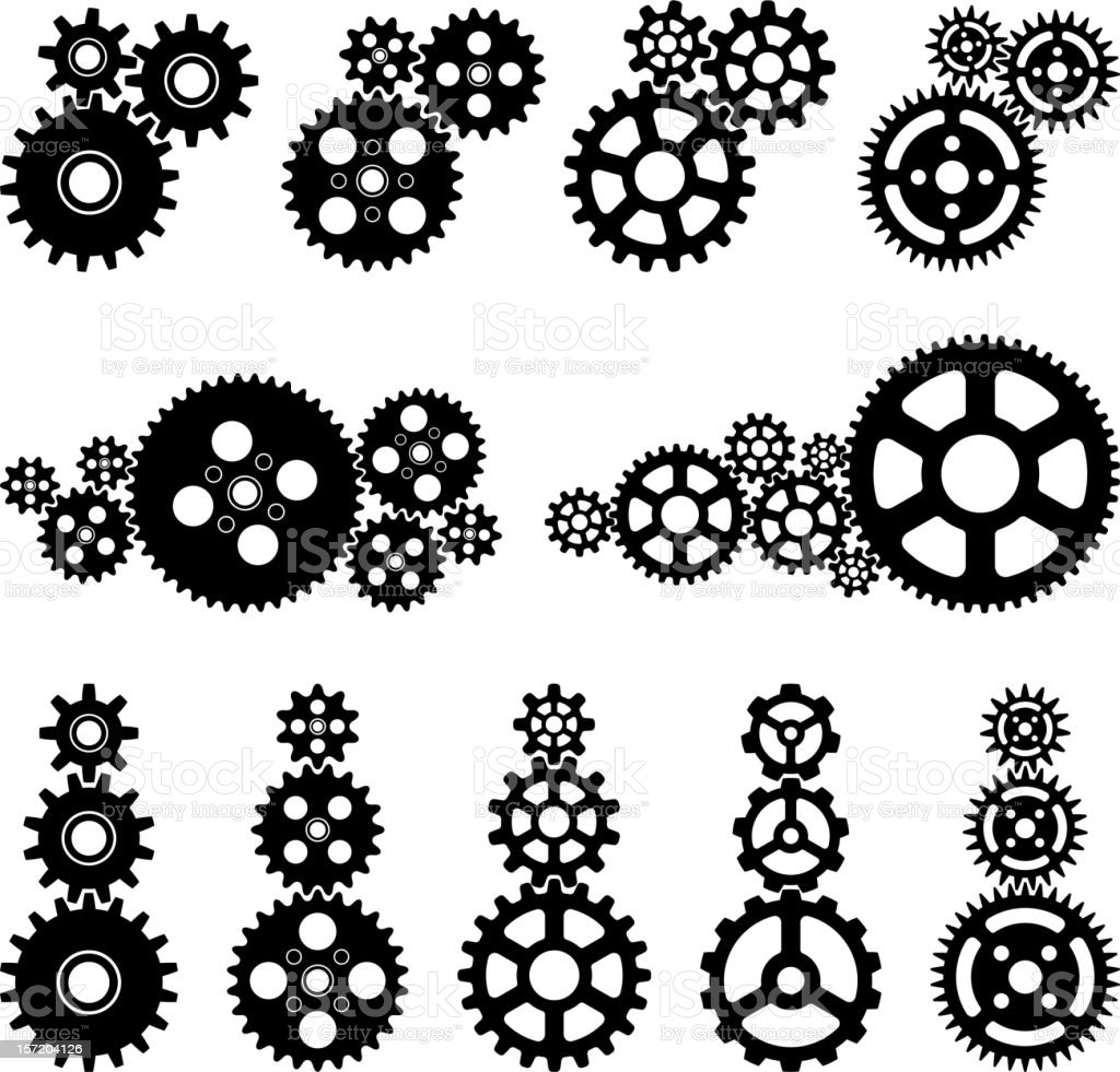Gears black and white set vector art illustration