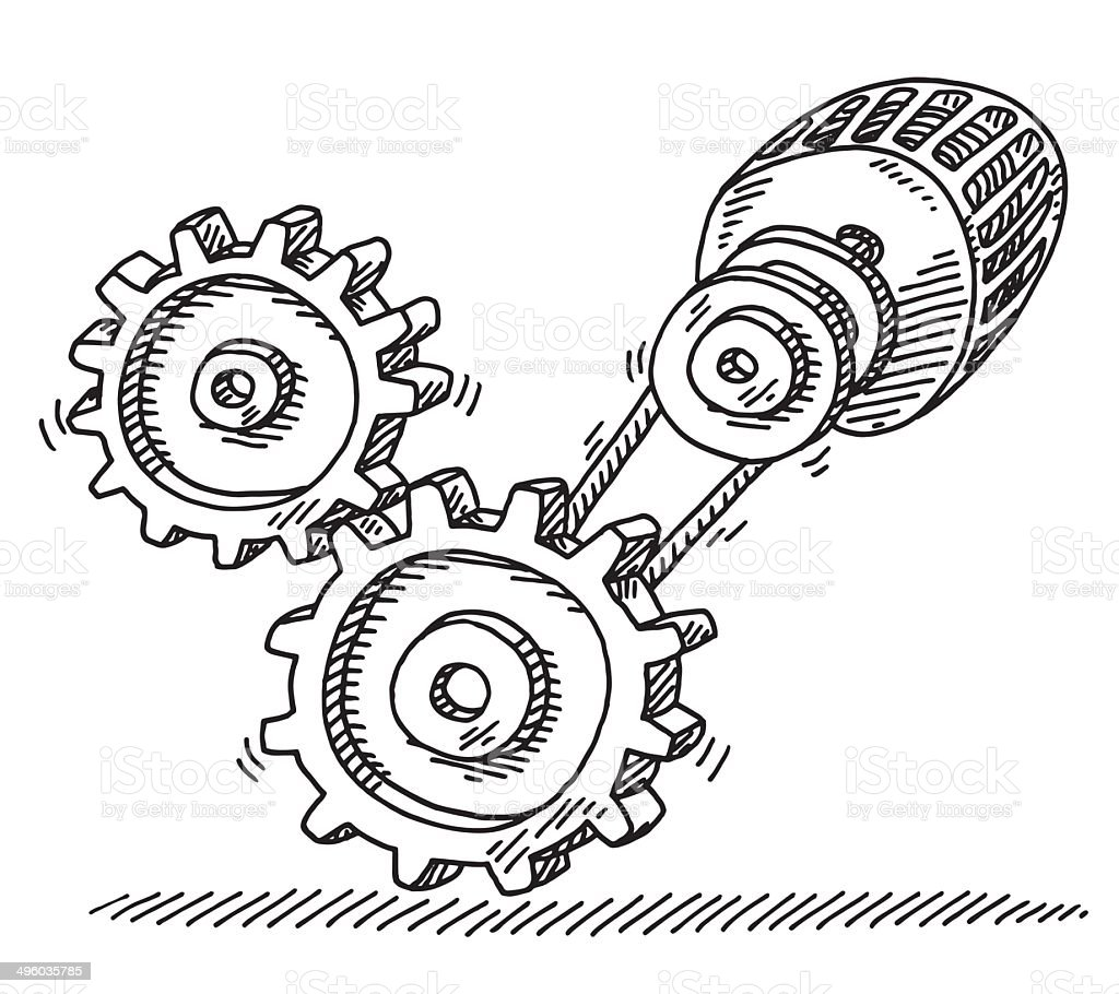 Gears Electric Motor Connection Drawing royalty-free stock vector art