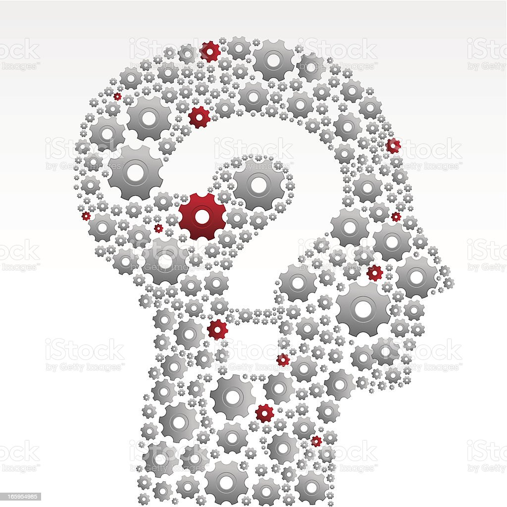 Gears head with question mark royalty-free stock vector art