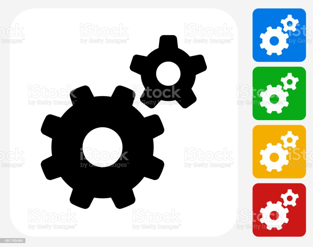 Gears Icon Flat Graphic Design vector art illustration