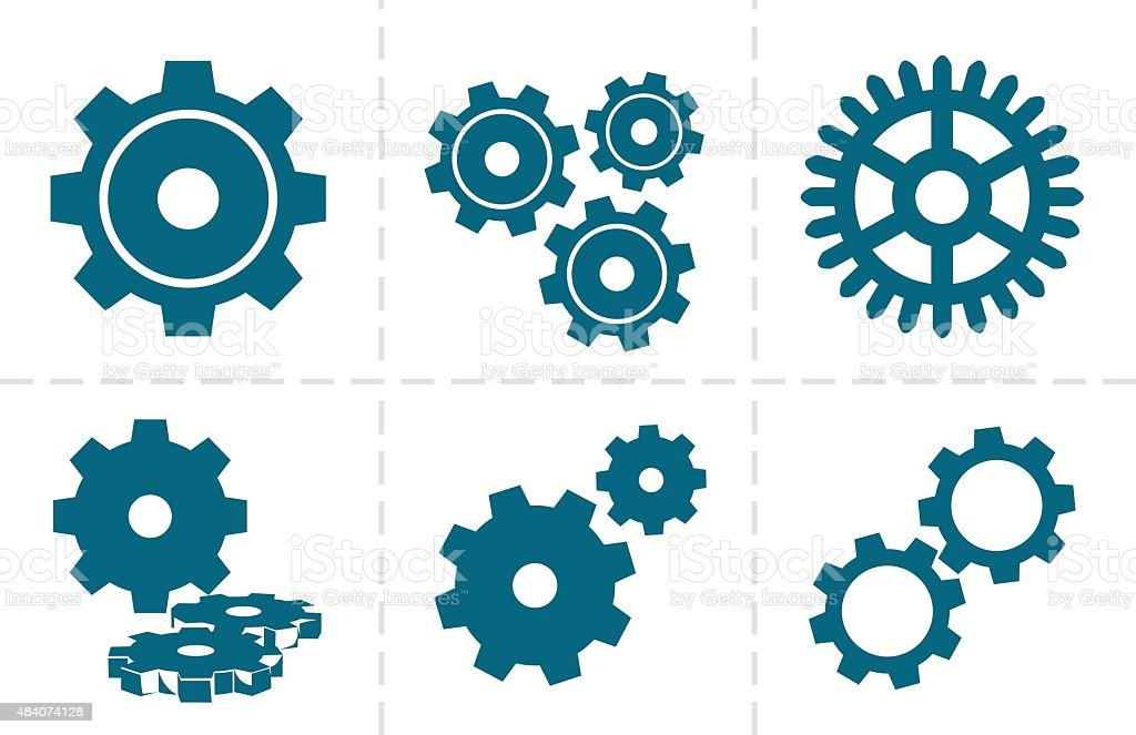 Gears icon set vector art illustration