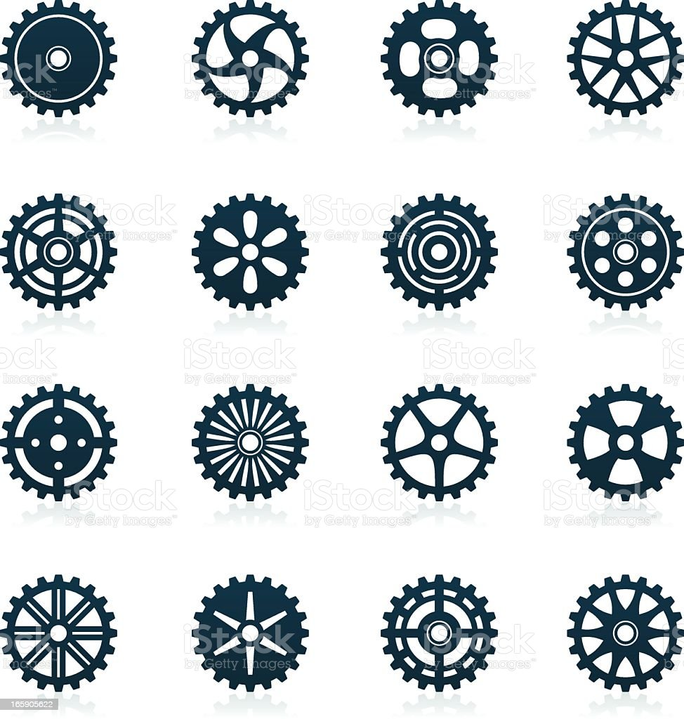 Gears Icons | black series royalty-free stock vector art