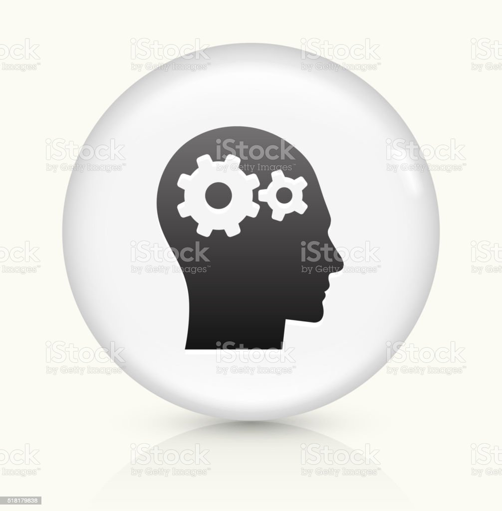 Gears in the Mind icon on white round vector button vector art illustration