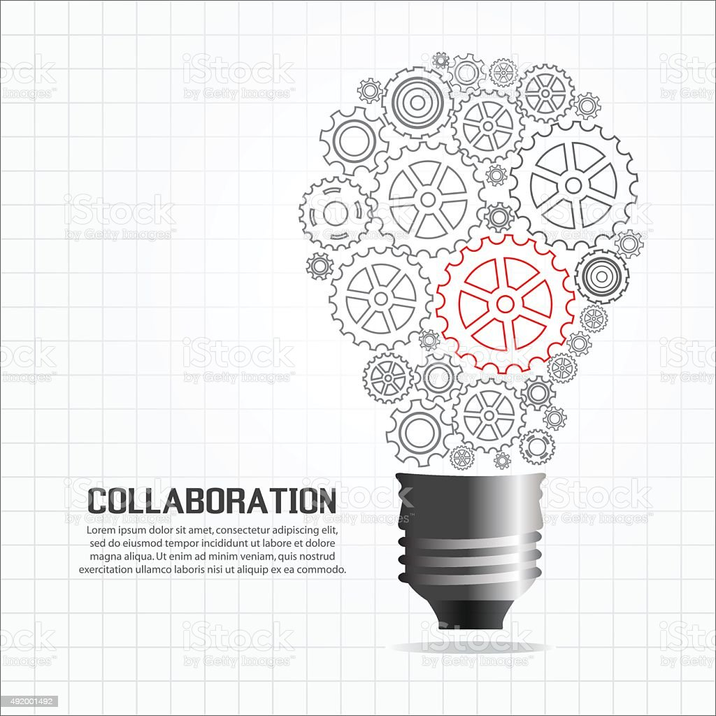 gears light bulb for cooperation or teamwork red leader stock gears light bulb for cooperation or teamwork red leader royalty stock vector art