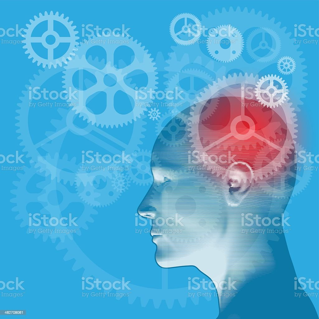Gears of the Mind vector art illustration