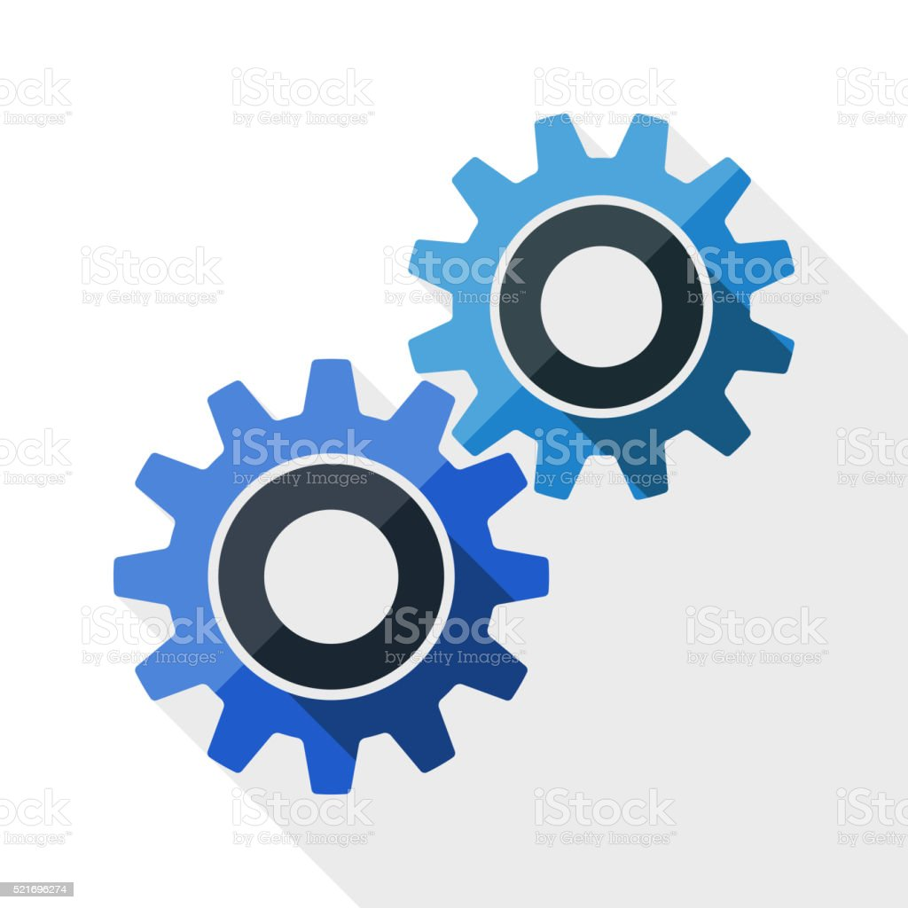 Gears or settings icon with long shadow vector art illustration