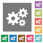 Gears square flat icons