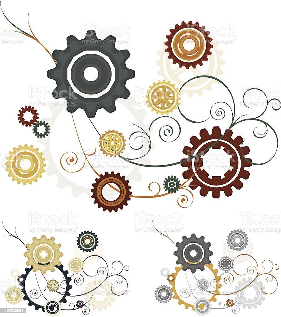 Getriebe Girlanden, Schnörkel und Design-Elemente in verschiedenen passenden Farben Lizenzfreies vektor illustration