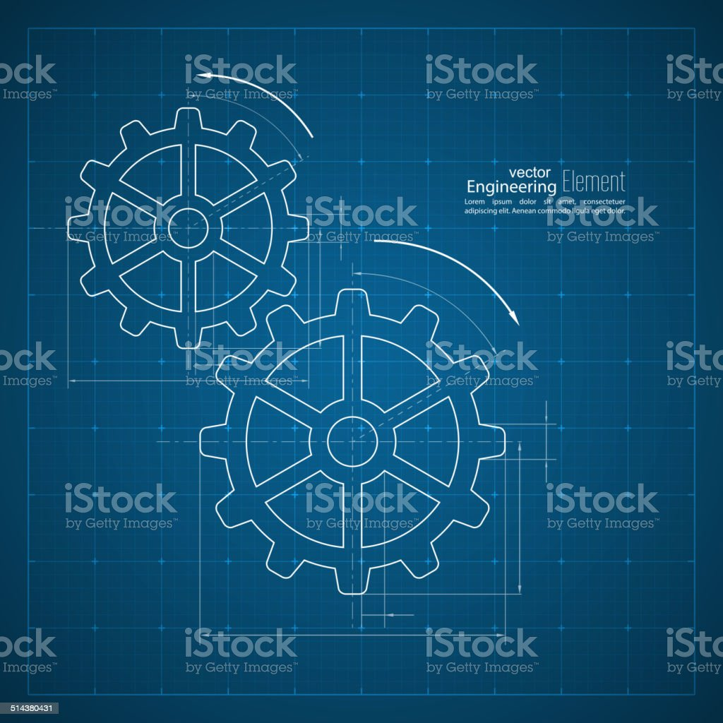 Gears symbol on the drawing paper vector art illustration