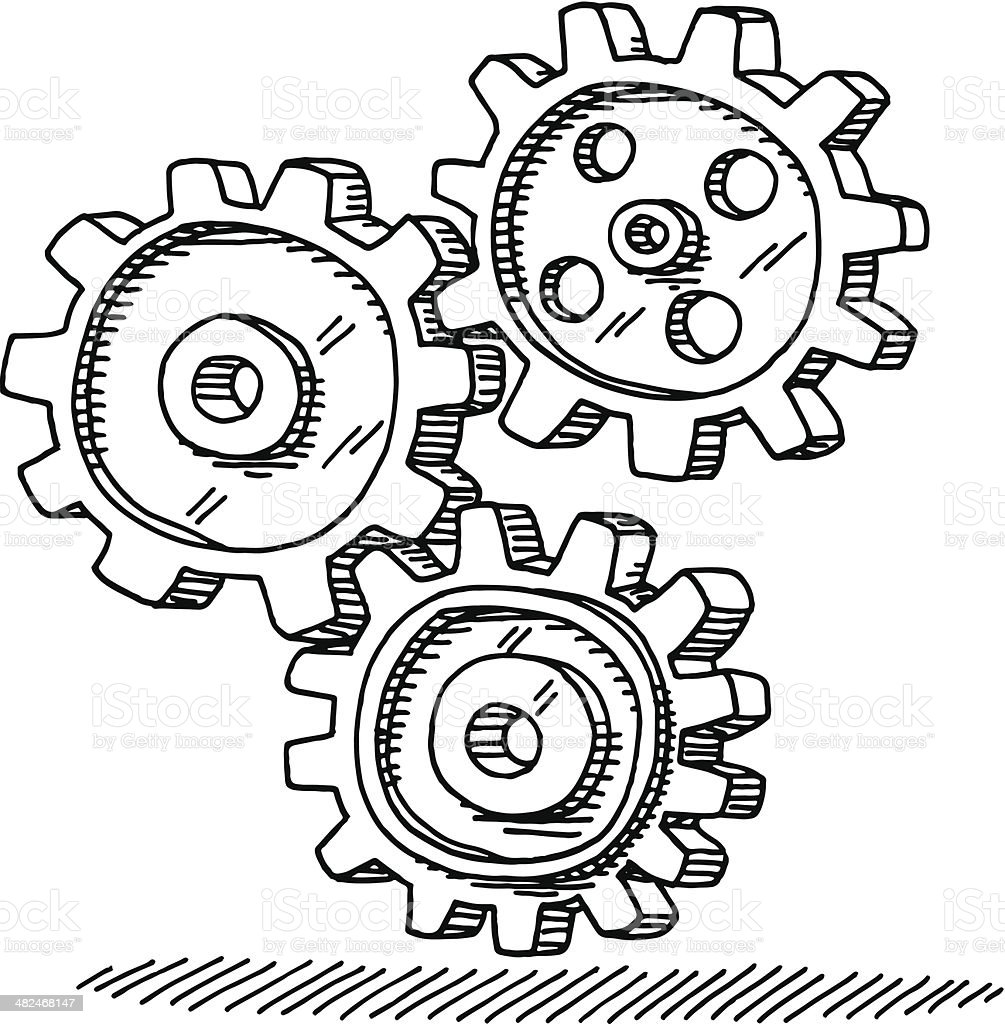 Gears Teamwork Concept Drawing vector art illustration