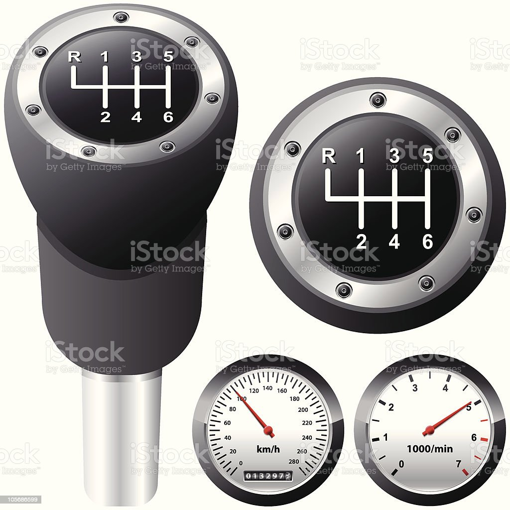 gearshift and car speedometer vector art illustration