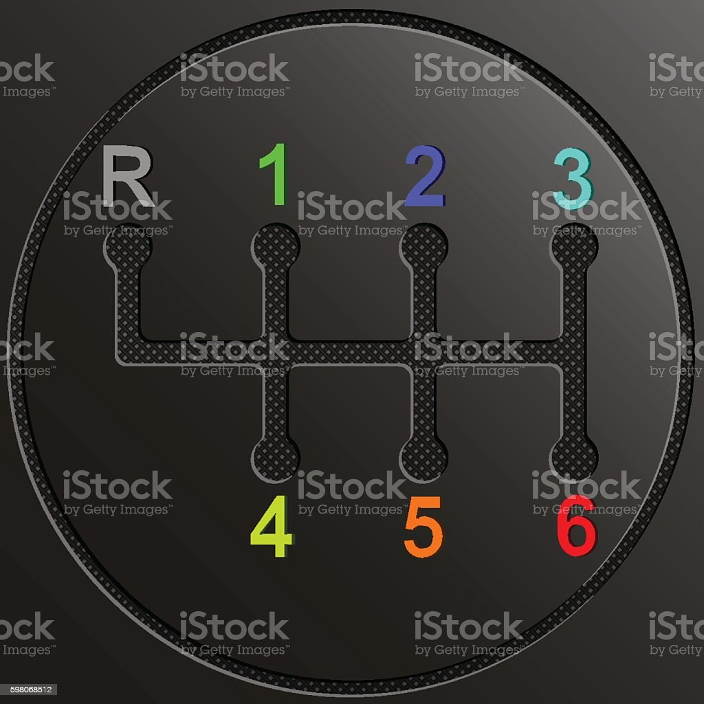 Gearshift of car with multicolor numbers on gray transportation background vector art illustration