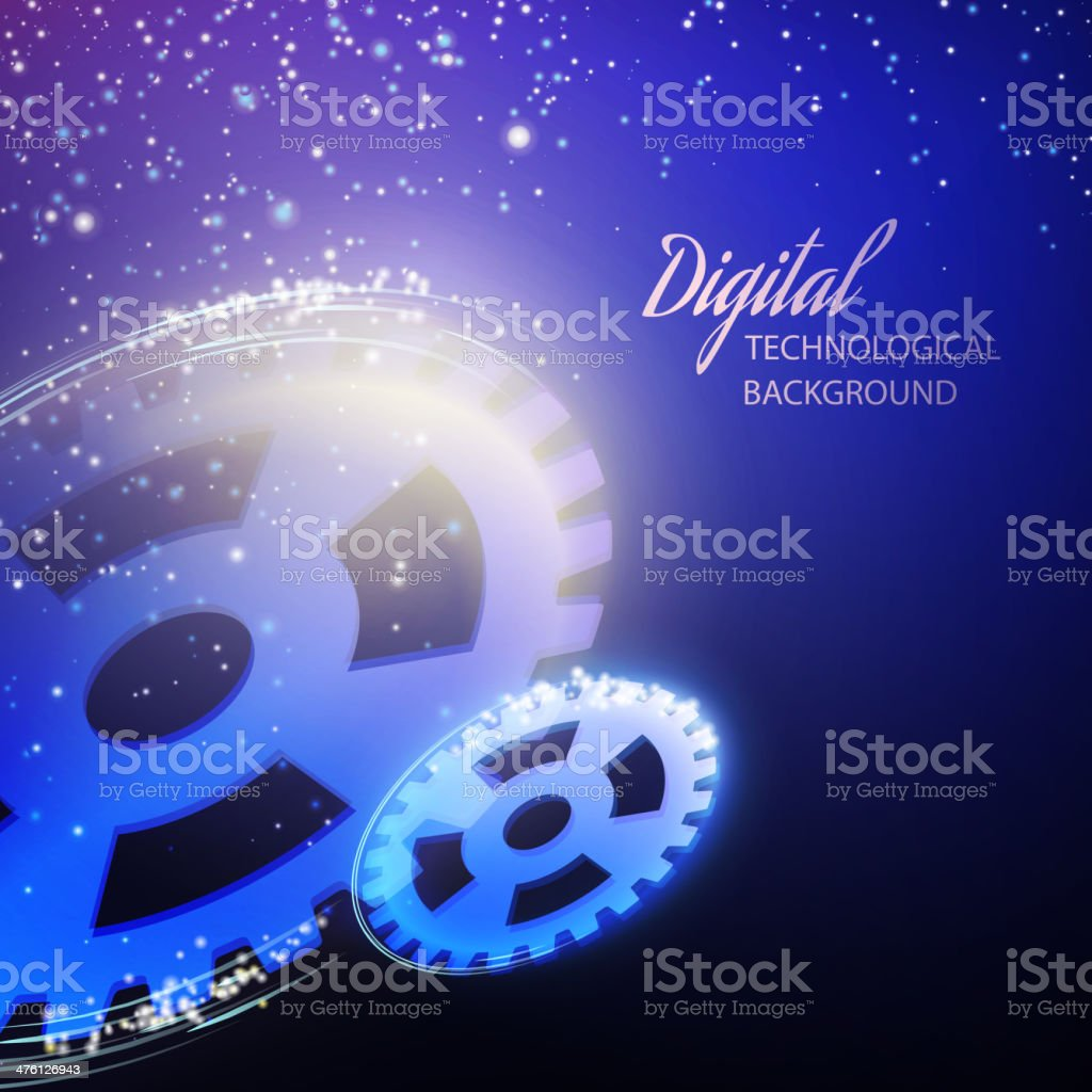 Gear-wheels over lights, rays with dark background. royalty-free stock vector art