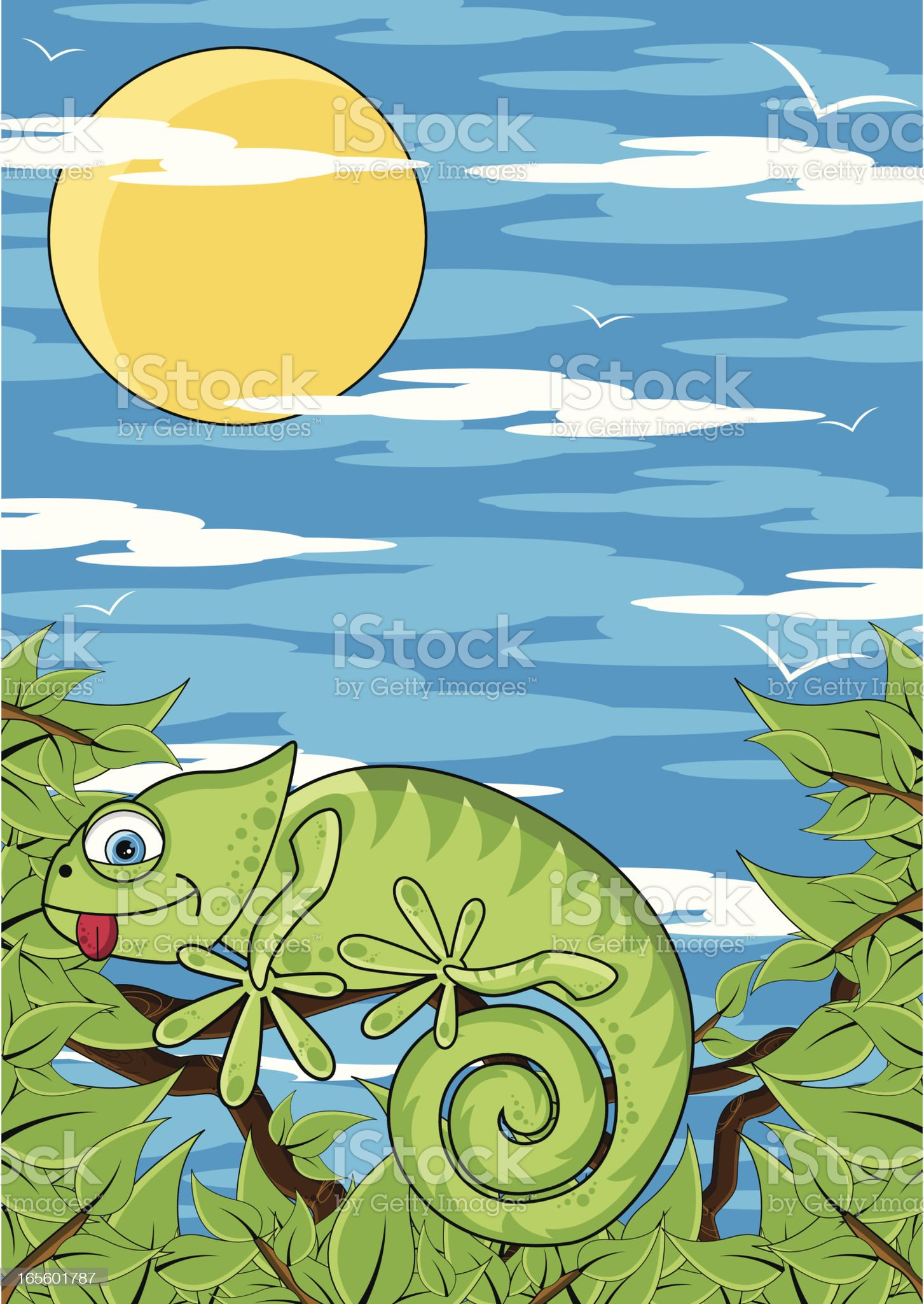 Gecko Character in Jungle royalty-free stock vector art