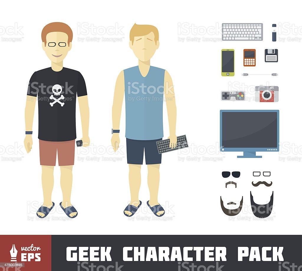 Geek Character Set royalty-free stock vector art