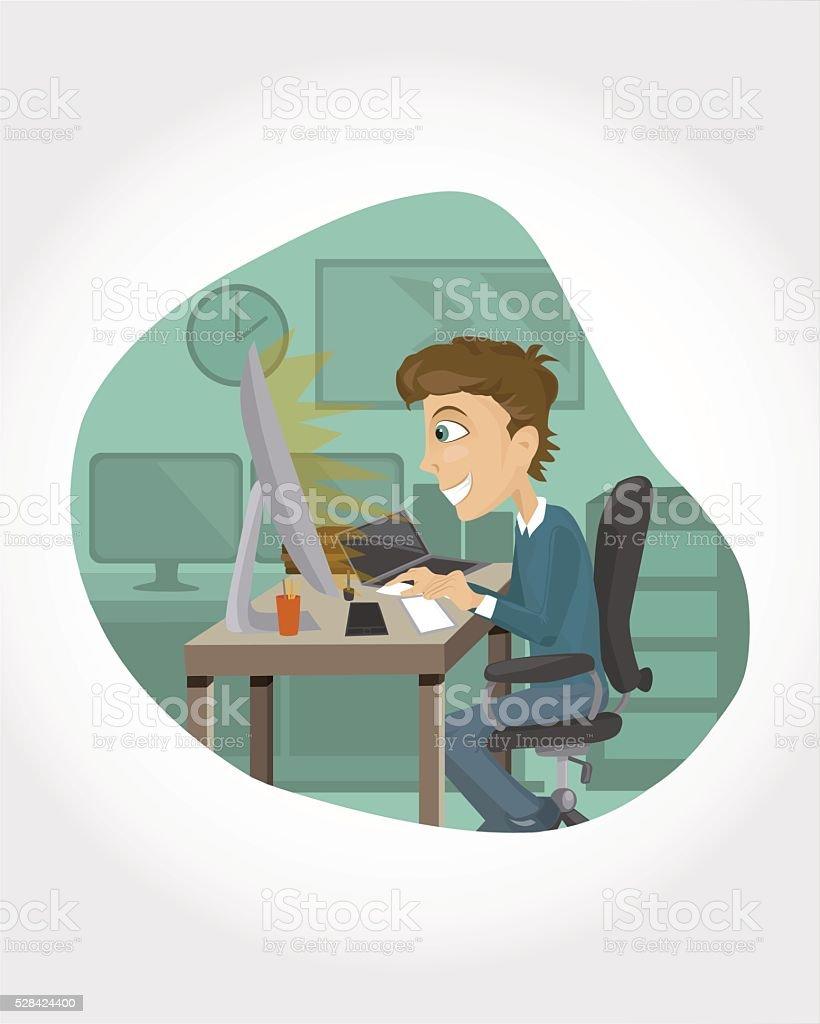 Geek guy working on the computer vector art illustration