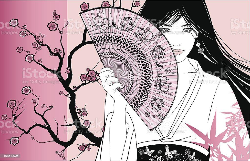 geisha on a pink floral background vector art illustration