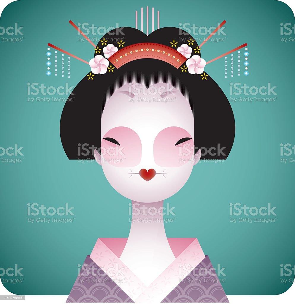 geisha vector art illustration
