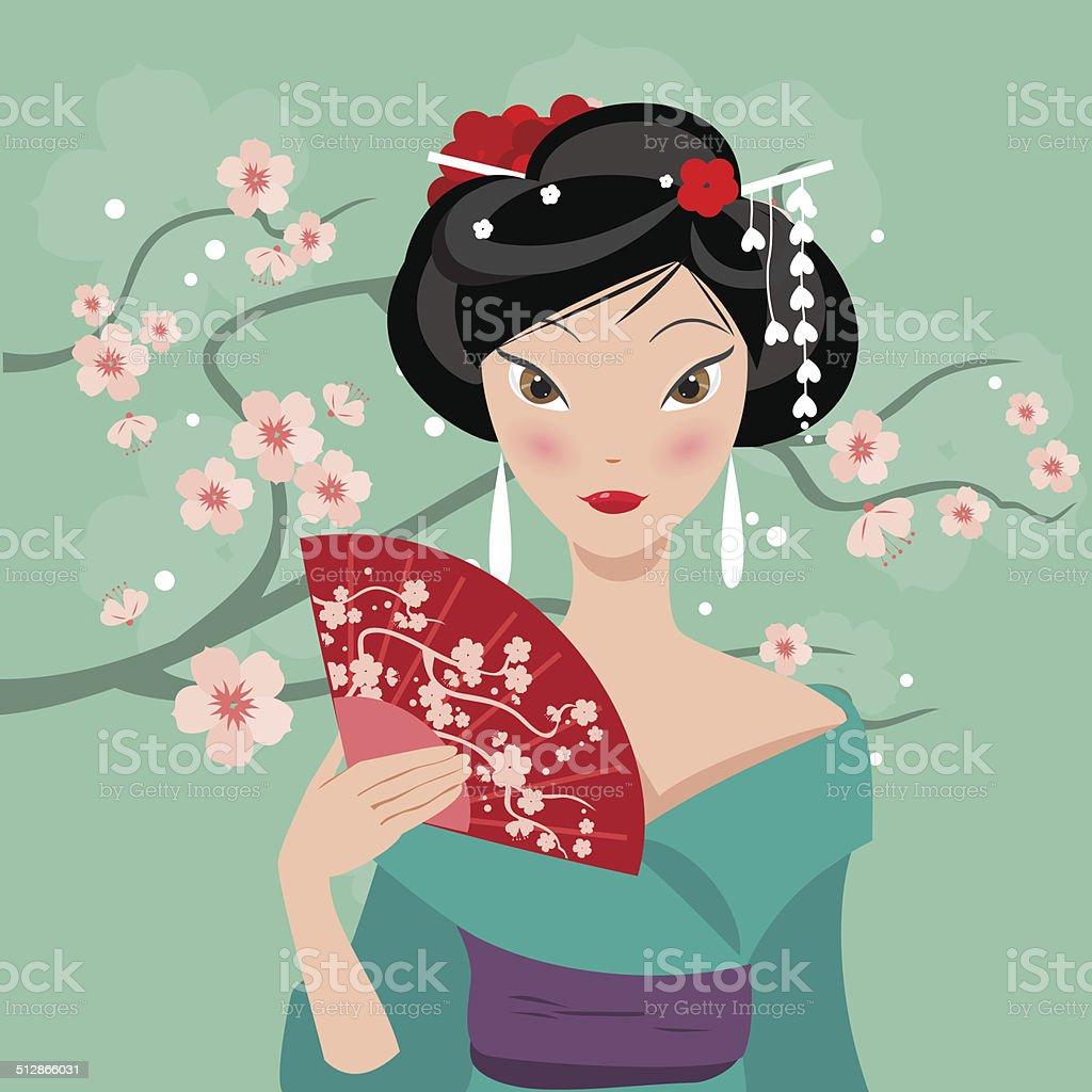 geisha with a fan vector art illustration
