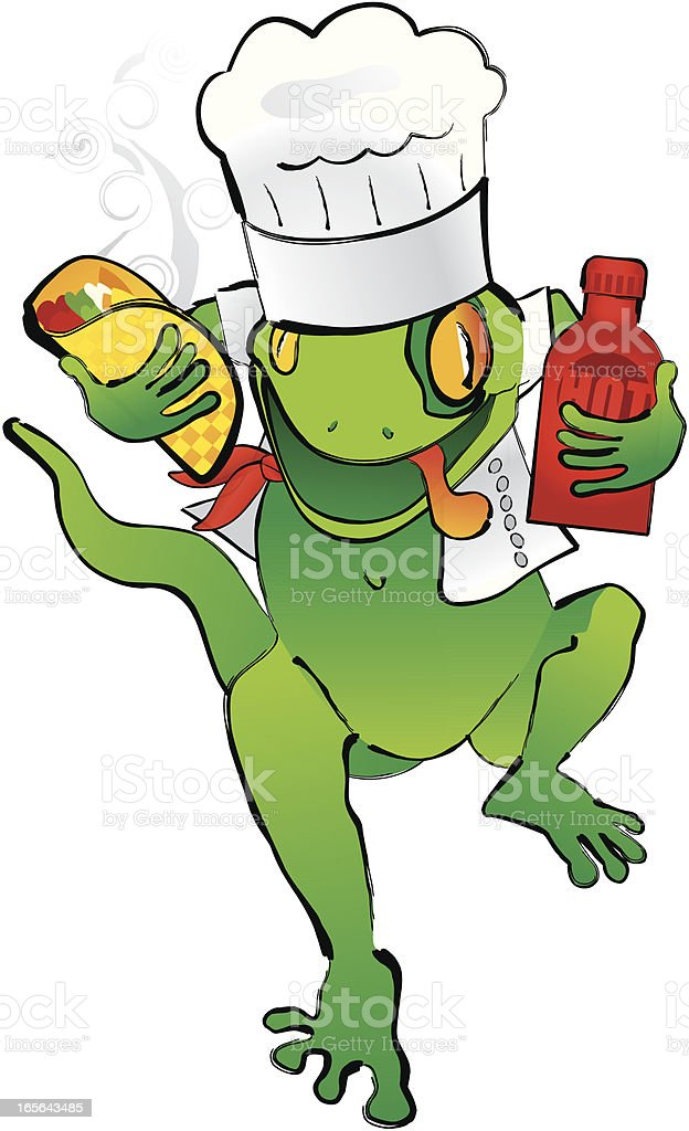 Gekko Chef with Taco and HOT sauce royalty-free stock vector art