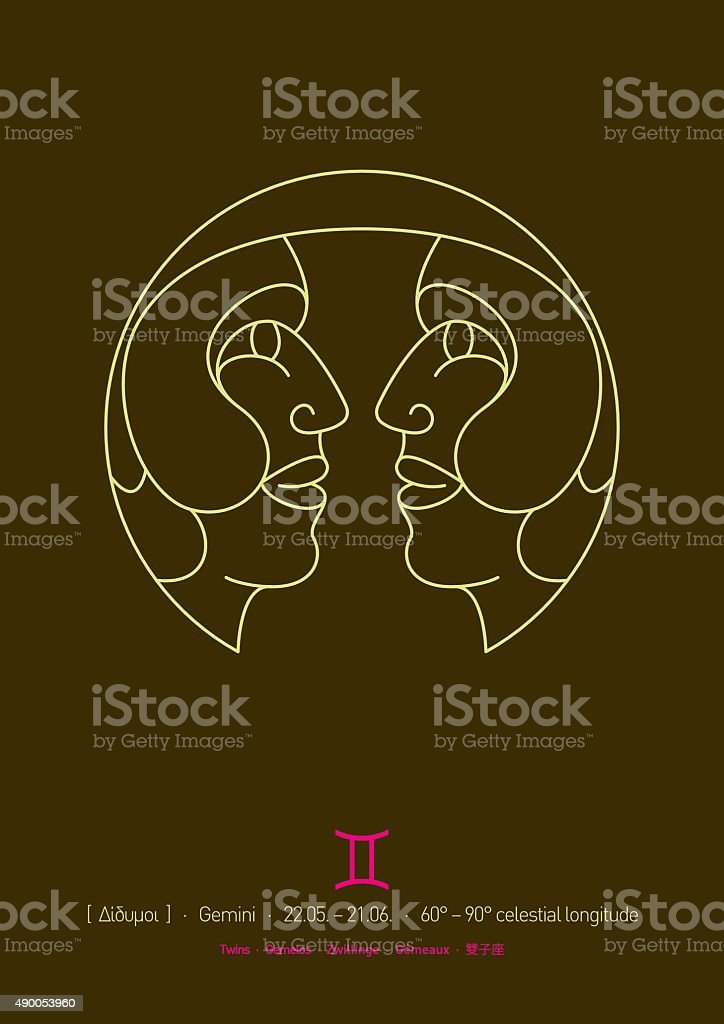 Gemini Sign of Zodiac (Line drawing, dates and translations) vector art illustration