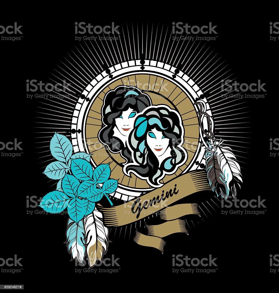 Gemini zodiac sign vector art illustration