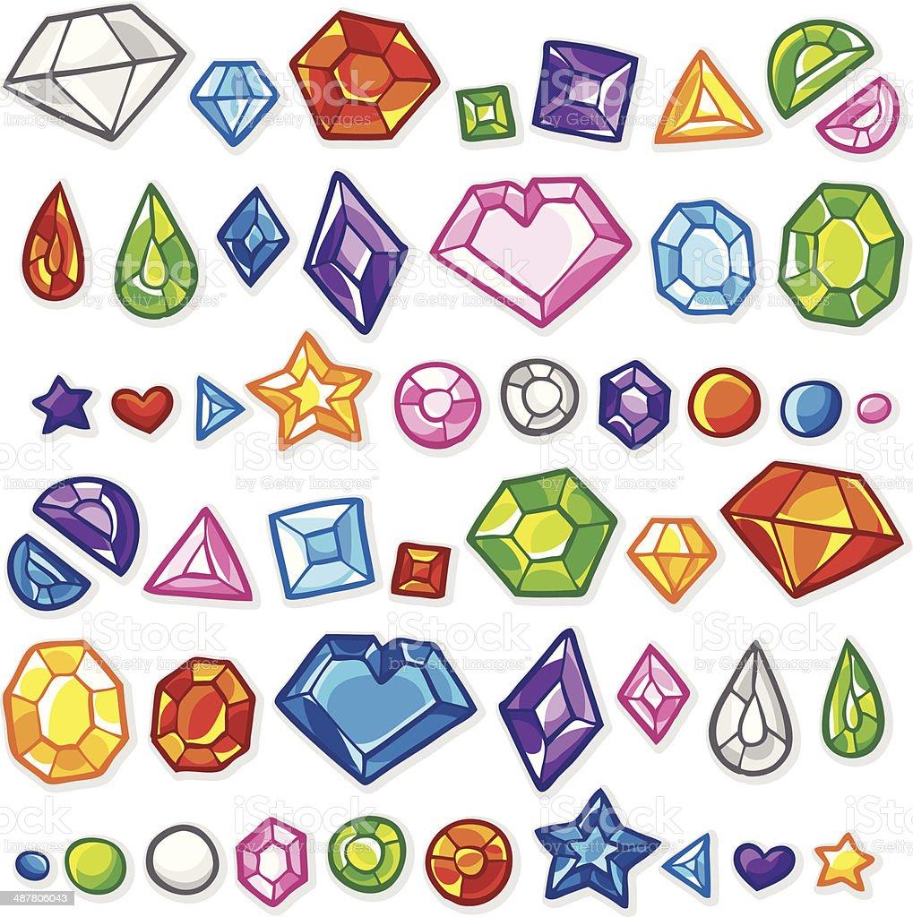 Gems and Precious Stones vector art illustration