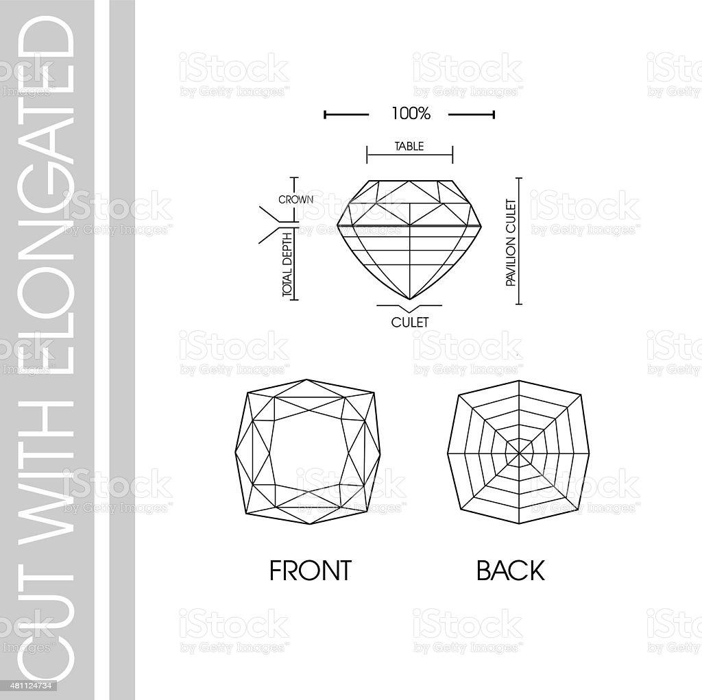 gems cut with elongated vector art illustration