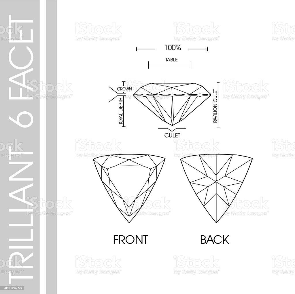 Gems shape trilliant vector art illustration
