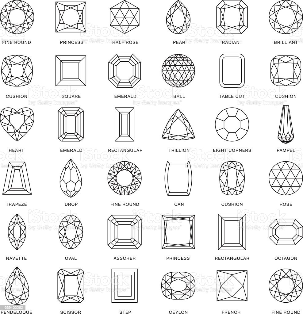 Gemstone Cuts Thin Line Icons (Including Captions) vector art illustration