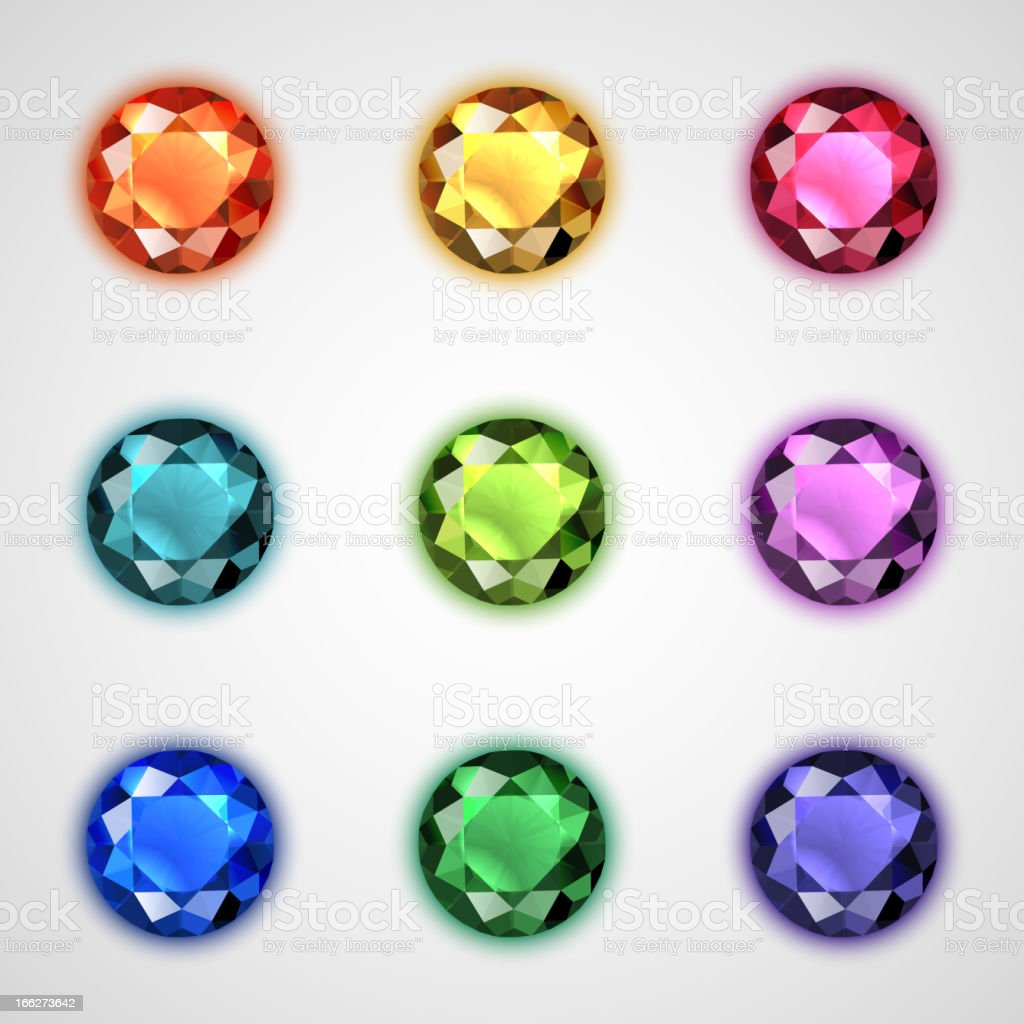 Gemstones set vector art illustration