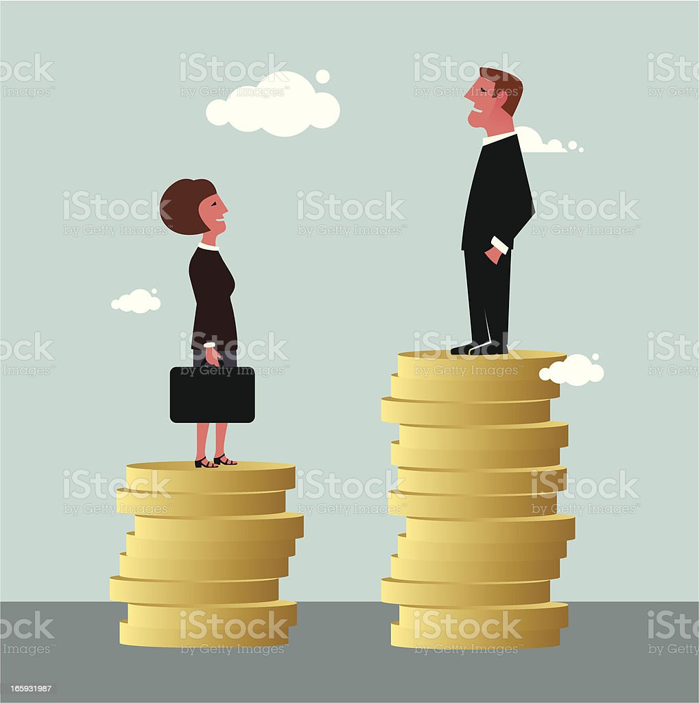Gender Differences in salary vector art illustration