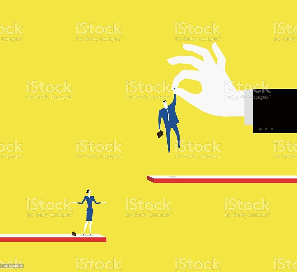 Gender discrimination vector art illustration