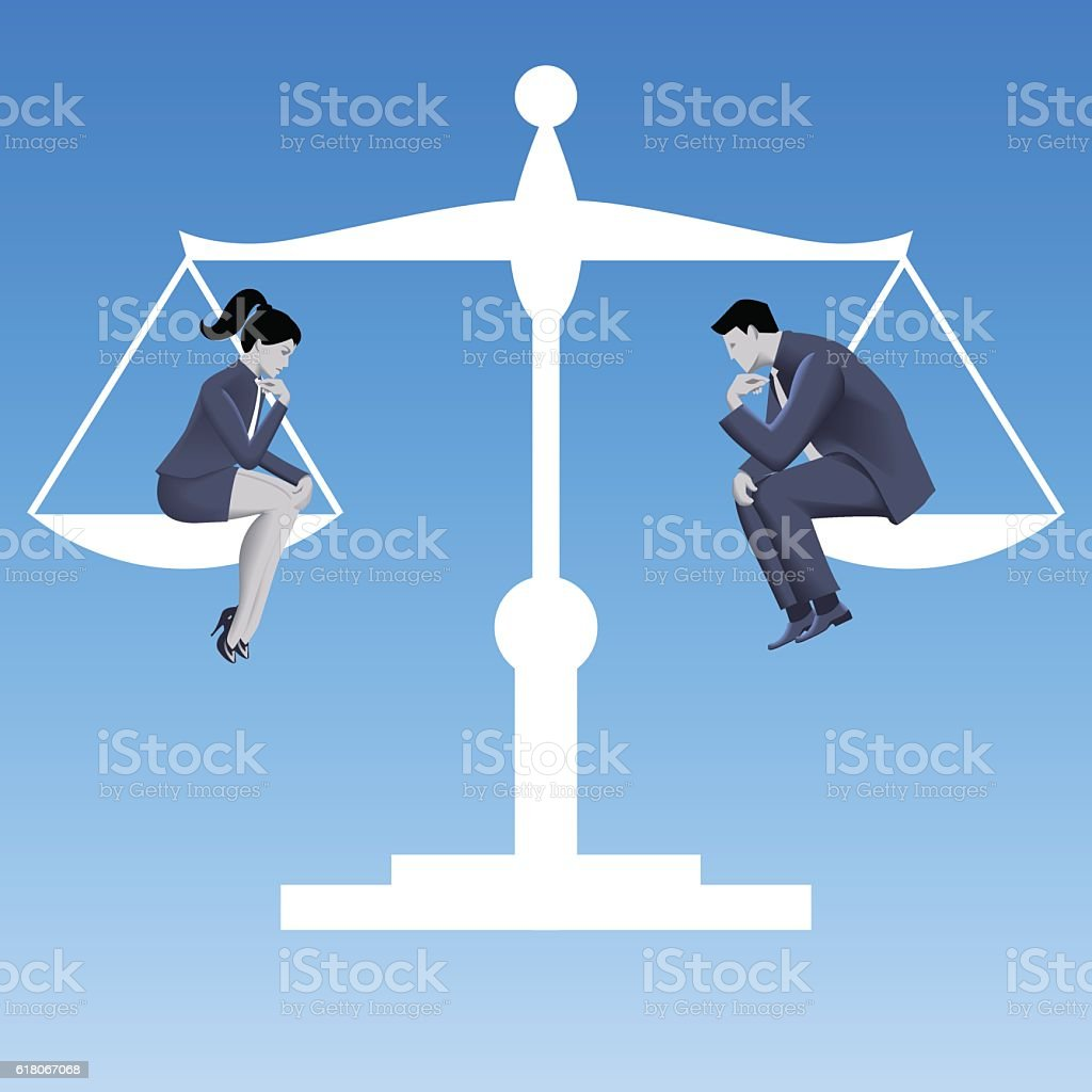 Gender equality business concept vector art illustration