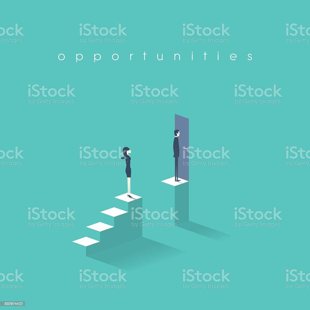 Gender equality concept with man versus woman symbol. Businessman vs vector art illustration