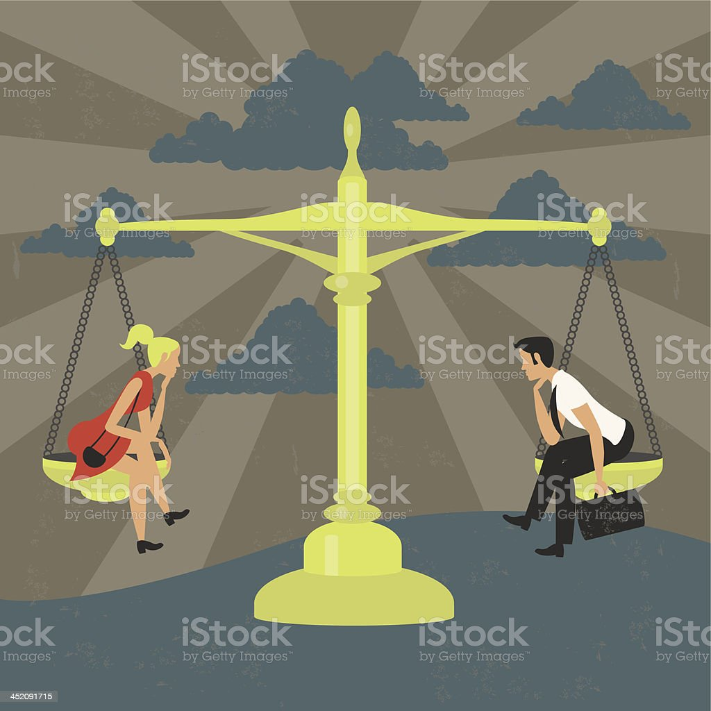 Gender equality of man and woman on a balance vector art illustration
