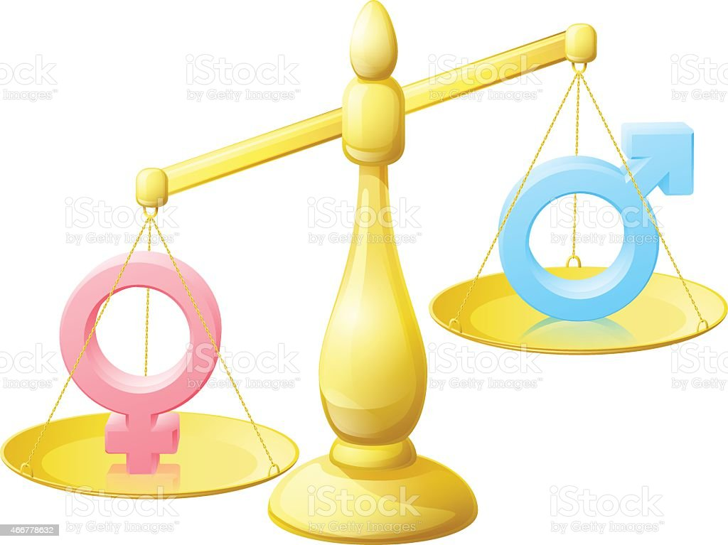 Gender equality scales concept vector art illustration