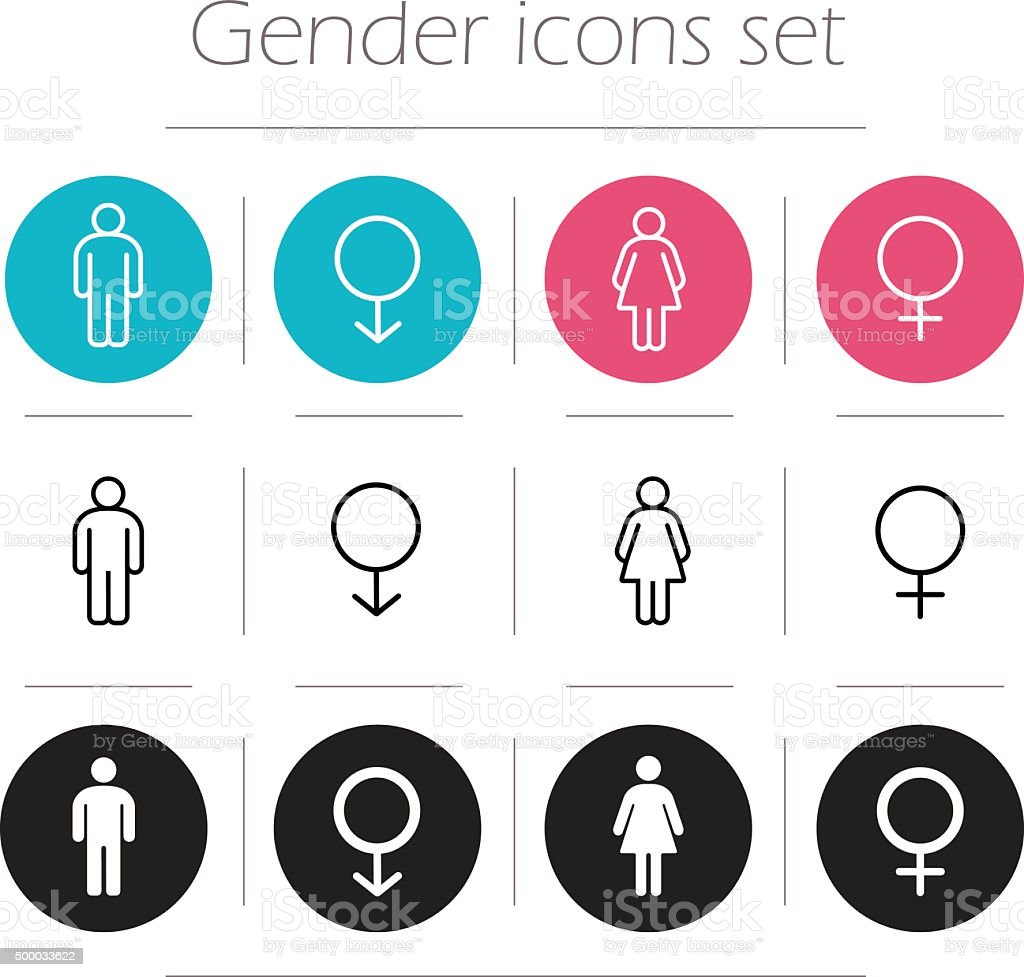 Gender icons set vector art illustration