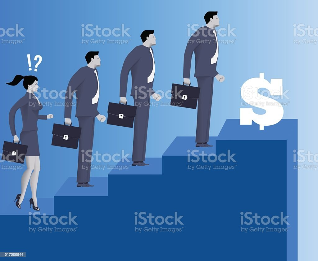 Gender inequality on career ladder vector art illustration