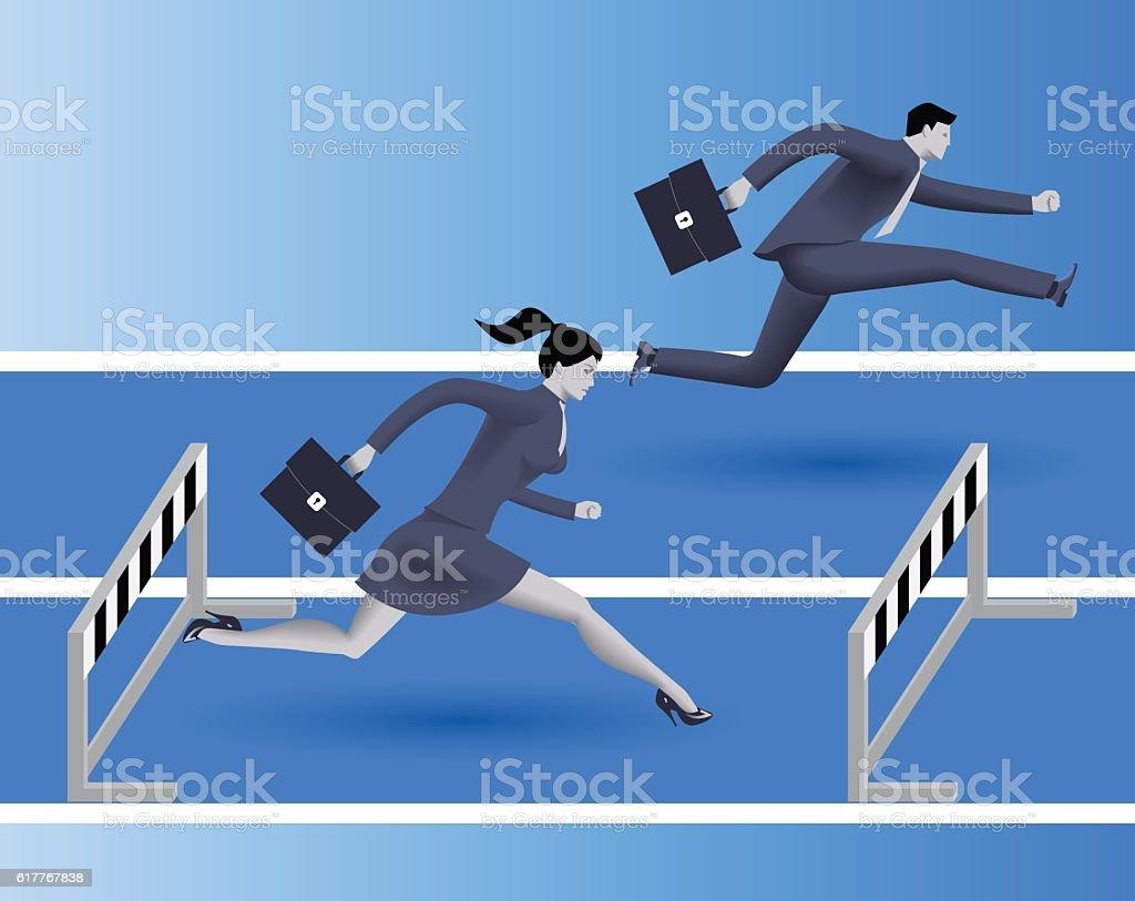 Gender inequality on career path vector art illustration