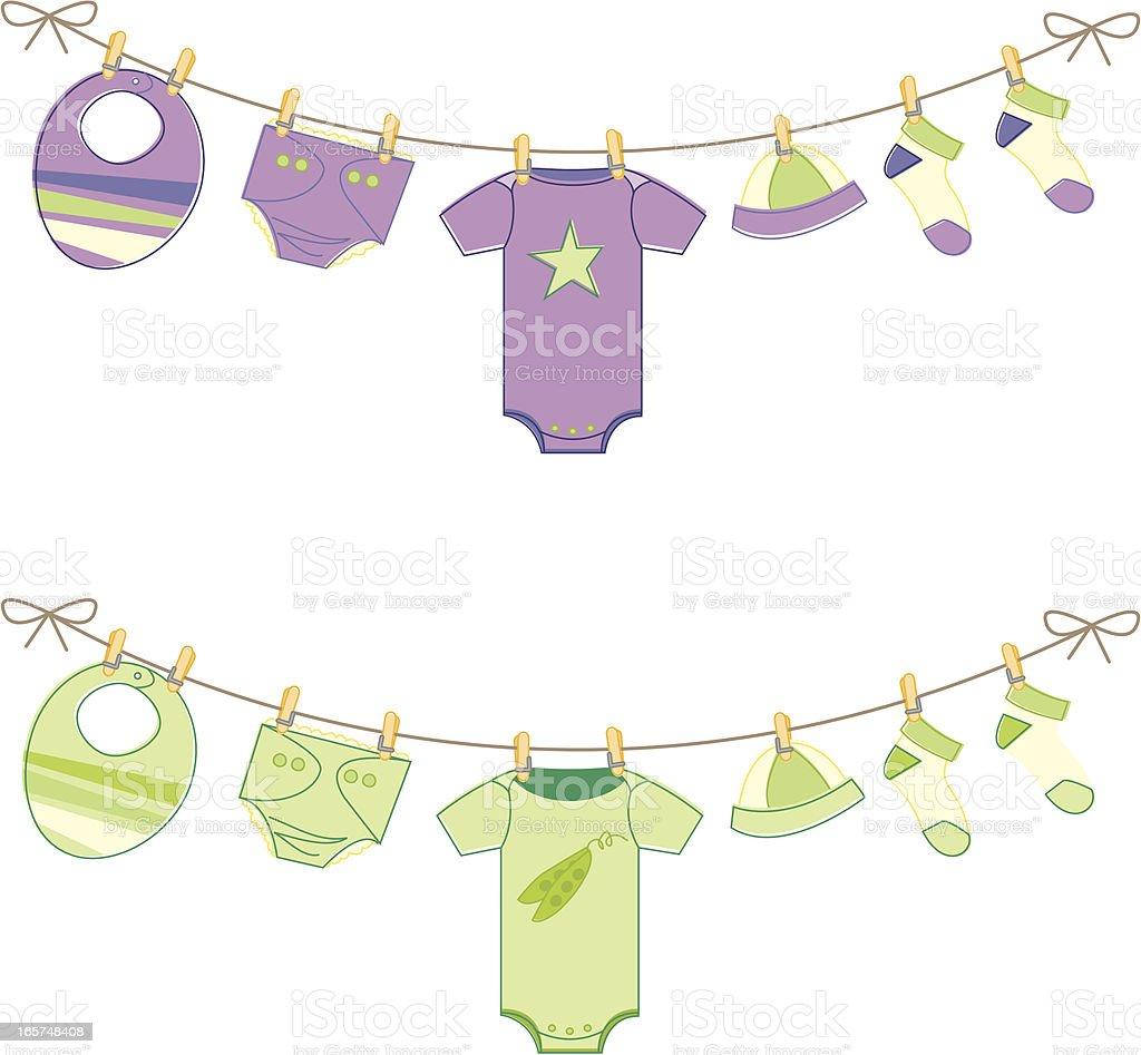 Gender Neutral Baby Clothes on Clothesline vector art illustration