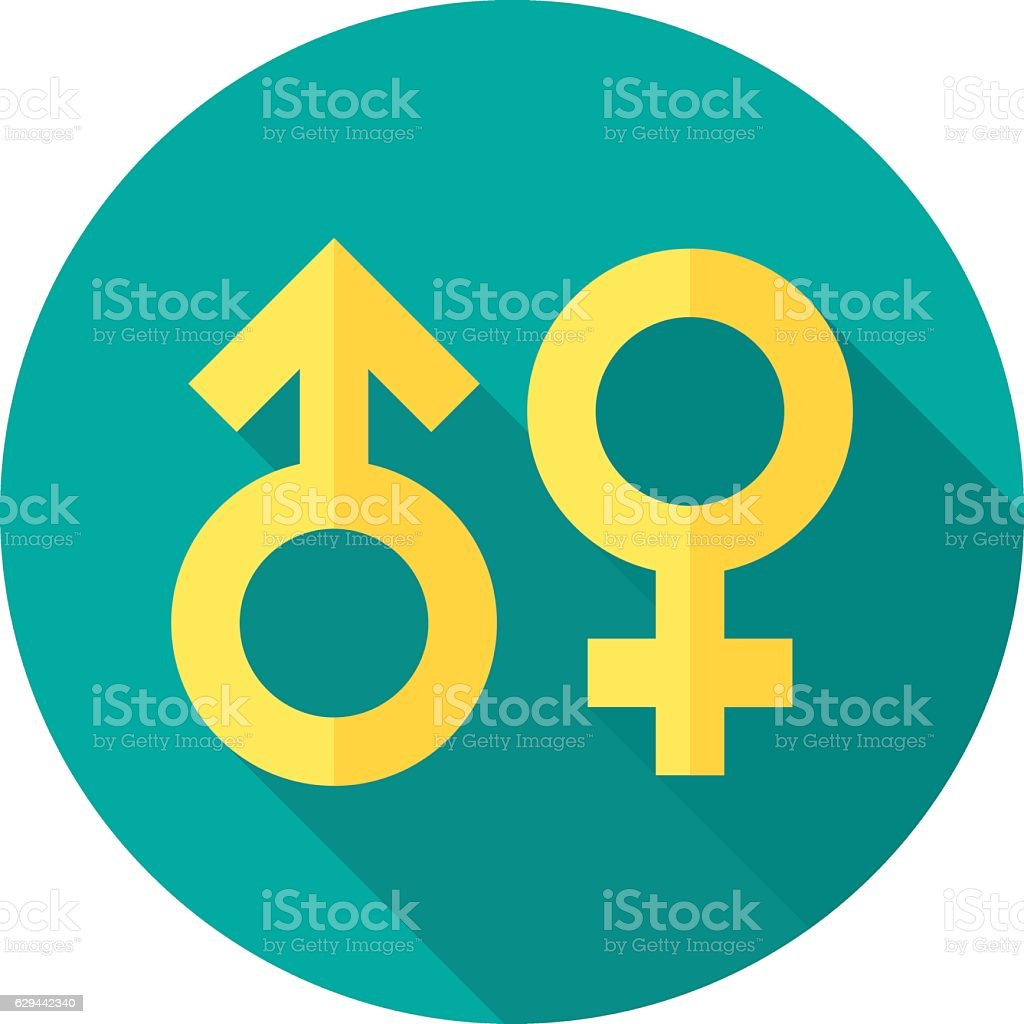Gender symbol icon with long shadow. vector art illustration