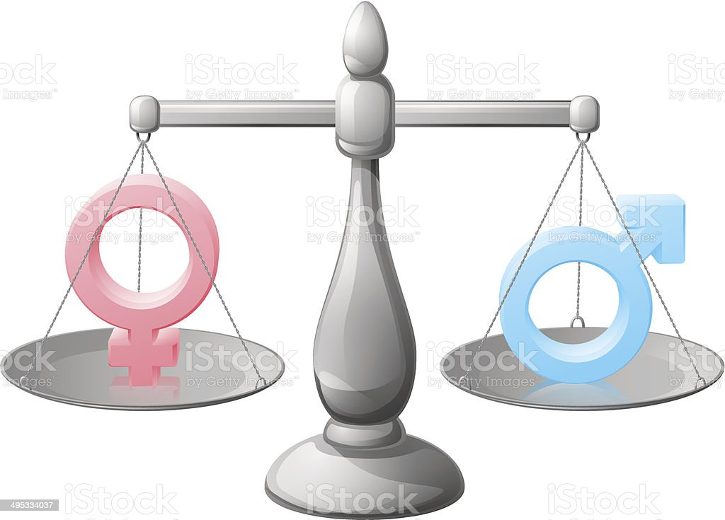 Gender symbol scales vector art illustration