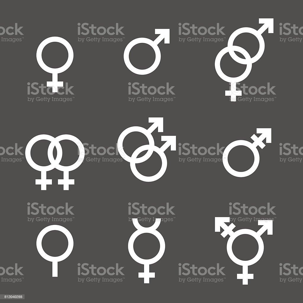 Gender Symbol Set vector art illustration