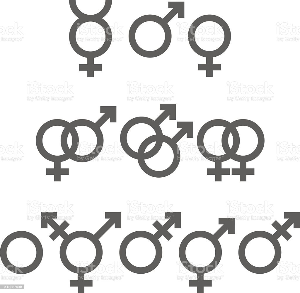 Gender symbols pack vector art illustration