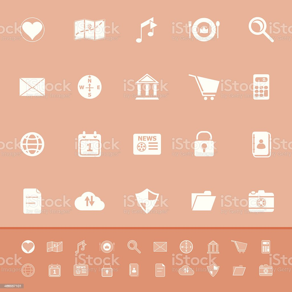General application color icons on orange background royalty-free stock vector art