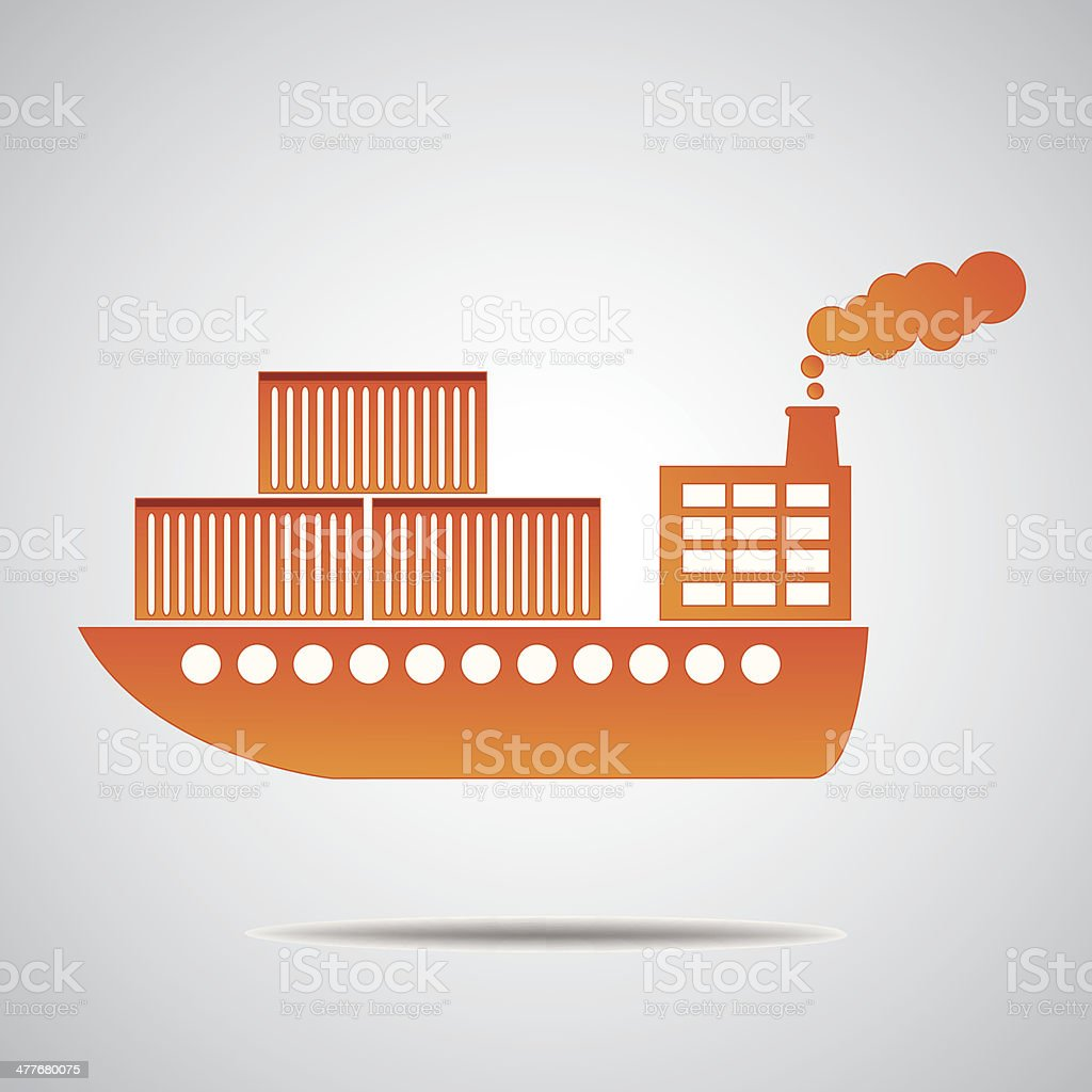 General cargo ship The container transport vector art illustration