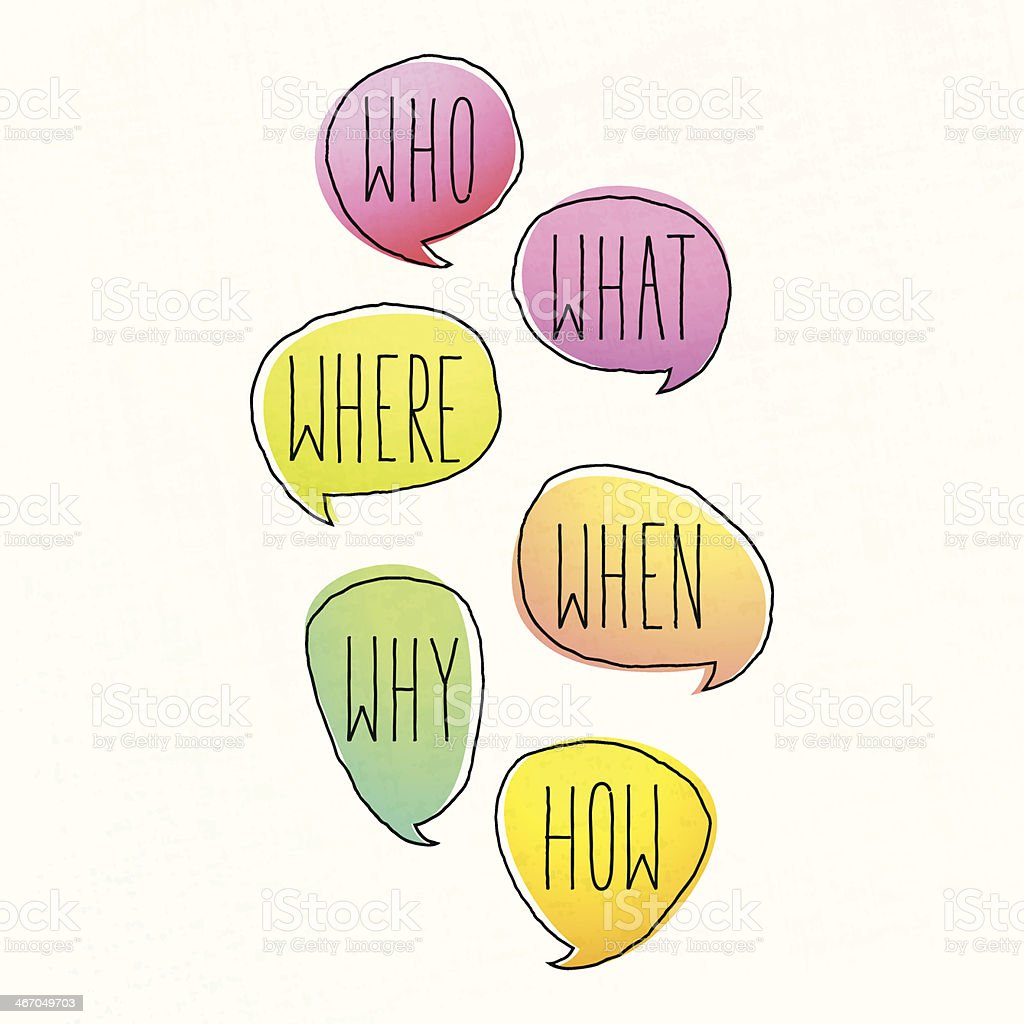 General Questions Written in Colored Doodle Speech Bubbles royalty-free stock vector art