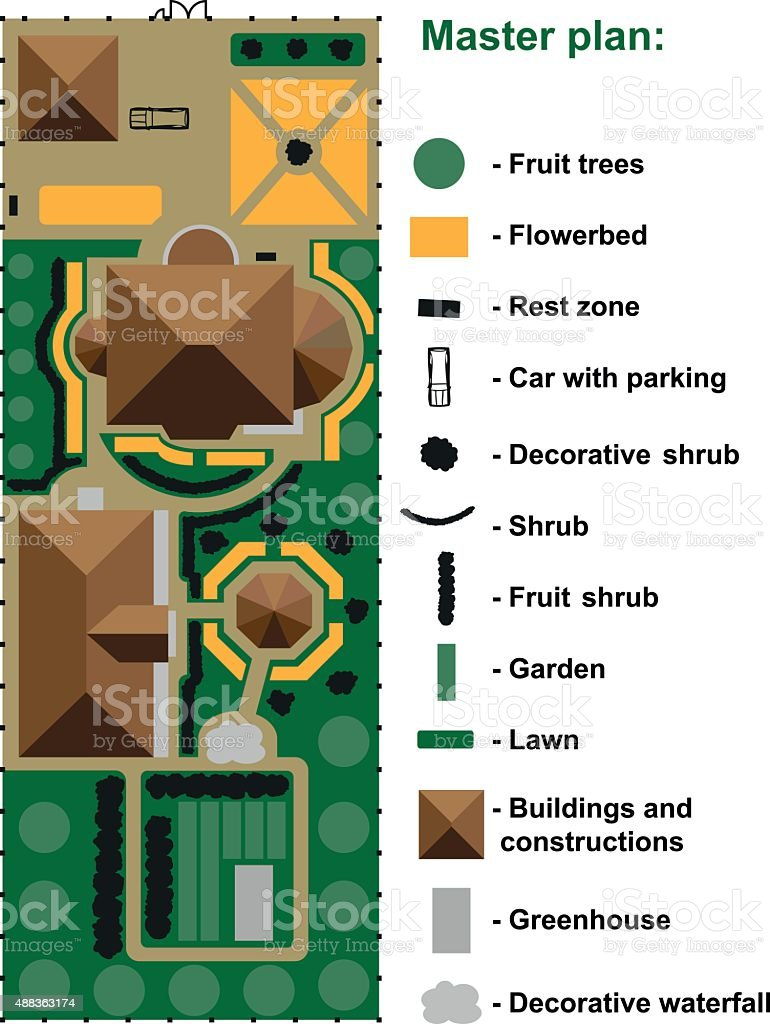 General site plan to house vector art illustration