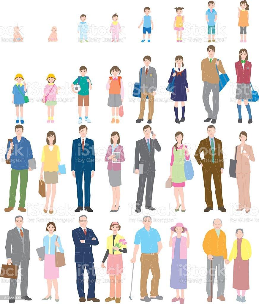 Generation. People of life. vector art illustration